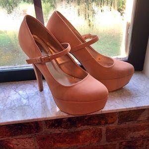 Nude Platform Strappy Heels